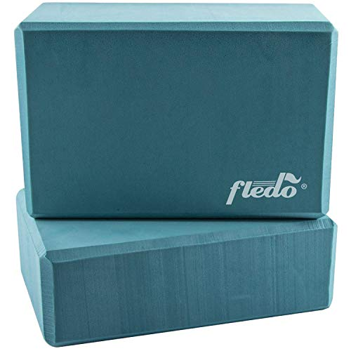 "Fledo Yoga Blocks (Set of 2) 9""x6""x4"" - EVA Foam Brick, Featherweight and Comfy - Provides Stability and Balance - Ideal for Exercise, Pilates, Workout, Fitness & Gym (Turquoise)"