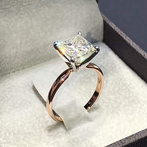 Ring, soAR9opeoF Womens Vintage Fake Crystal Jewelry Square Cut Engagement Wedding Bridal Ring - Golden US ()