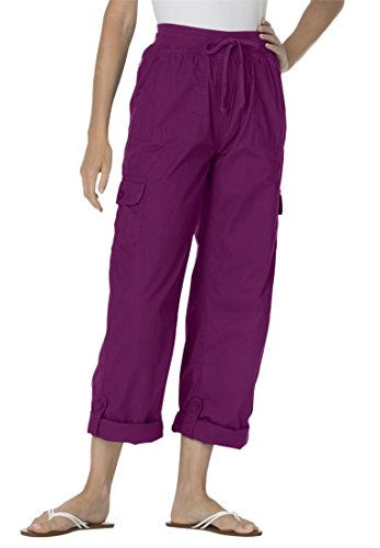 Womens Plus Size Pants With Convertible Length Boysenberry 32 W
