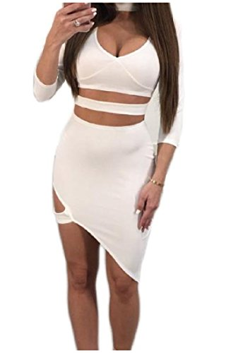 Confortable Femmes Club Soir Plongeon Serré V Cou Robe Bandage Sexy Creux As3