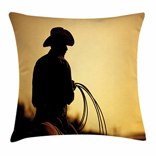 Western Throw Pillow Cushion Cover by Ambesonne, Cowboy with Lasso Silhouette at Small Town Rodeo Theme American USA Culture, Decorative Square Accent Pillow Case, 18 X 18 Inches, Brown Light (Cowboy Wedding Ideas)