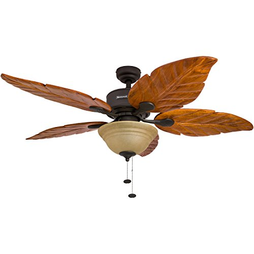 52-Inch Tropical Ceiling Fan with Sunset Bowl Light, Five Hand Carved Wooden Leaf Blades, Lindenwood/Basswood, Bronze ()