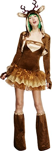 Smiffy's Adult Women's Fever Reindeer Costume, Tutu Dress With Detachable (Reindeer Costume Womens)