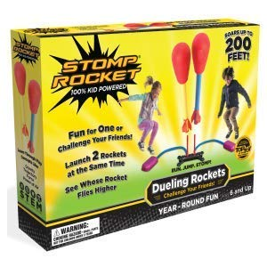 Stomp Rocket Dueling Rockets, 4 Rockets and Rocket Launcher - Outdoor Rocket Toy Gift for Boys and Girls Ages 6 Years and Up - Great for Outdoor Play with Friends ()