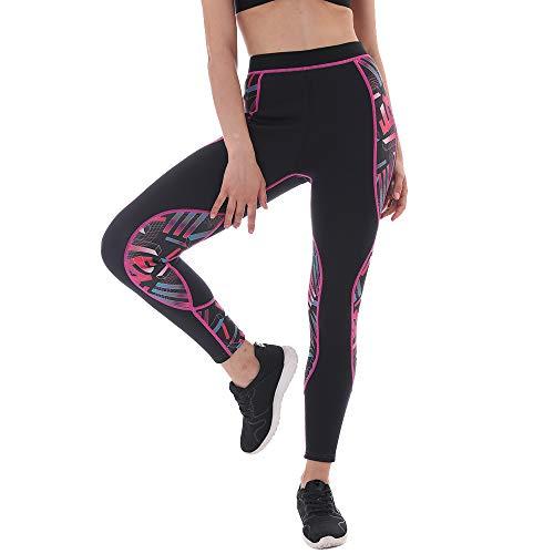 L&Sports Neoprene Sauna Pants Women - Neoprene Weight Loss Thermo Shapers, Hot Sweat Body Shaper Pants, Fat Burner Workout Capris (Sauna Pants Fuchsia Pattern 02, M)