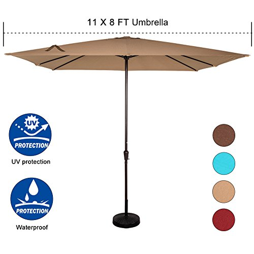 Sundale Outdoor 8X11 Ft Rectangular Patio Umbrella Table Market Umbrella with Crank Lift for Garden, Deck, Backyard, Pool, 8 Steel Ribs, 220g Polyester Canopy (Khaki)