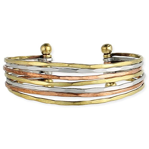 Zad Mixed Metal Hammered Cuff Fashion Bracelet (Goldtone, Copper, (Hammered Metal Bracelet)