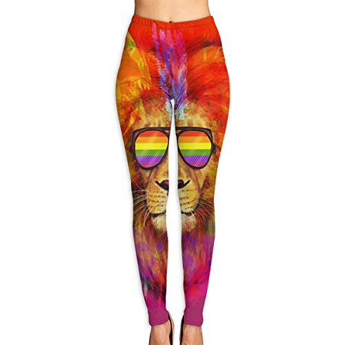 Rainbow Lion Pride with Sunglasses Womens Printed Leggings Yoga Pants Workout Stretchy Tights Pants