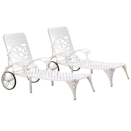 Biscayne White Chaise Lounge Chair Pair by Home Styles (Chaise Lounge White Chairs)