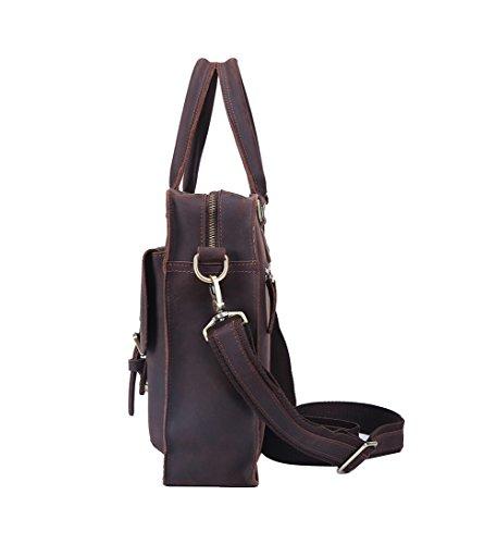 Genda 2Archer Bolso de Mano Genuino del bolso de Hombro de la Cartera del Cuero del Caballo Para los Hombres (38cm * 9cm * 28cm)