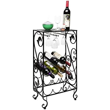 16 Bottle And 8 Wine Glass French Grapevine Motif Wine Storage Organizer /  Display Rack