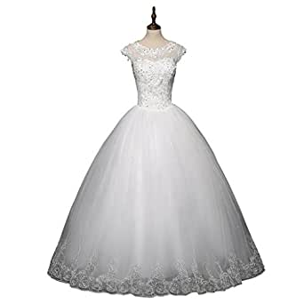 White Bride Dress Wedding Dress Lace Around Neck Short Sleeves Waist Embroidery Bridal Gown (2, white)