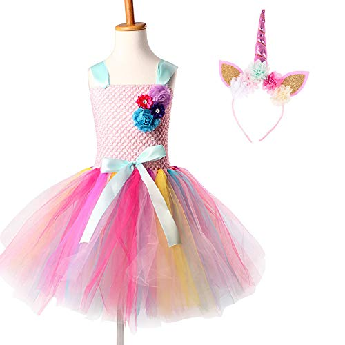 JEWH Unicorn Costume for Girls | Kids Girls Unicorn Tutu Dress with Headband Knee-Length Pastel Rainbow Flower Girl Dress Kids Halloween Pageant Party Costume( Unicorn Dress 2 - 12) -