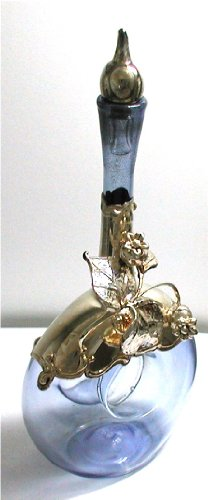 Decorative Bottles, Vases of Mouth Blown Glass and Sterling Silver