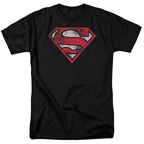 Popfunk Superman Distressed Logo S Shield Black T Shirt & Stickers