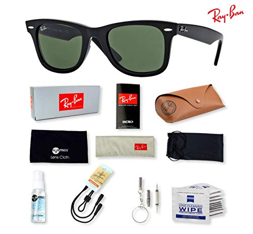 (Ray-Ban RB2140 (901) Black/G-15XLT 54mm, Sunglasses Bundle with original case, cloth, booklet and accessories (6 items))