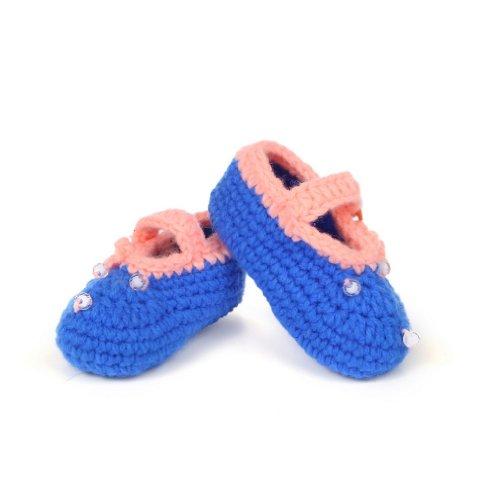 Smile YKK Gestrickte Krabbelschuhe Schuhe flauschige Baby-Unisex Länge 11 cm Flip Flops Violett Knopf Blau M