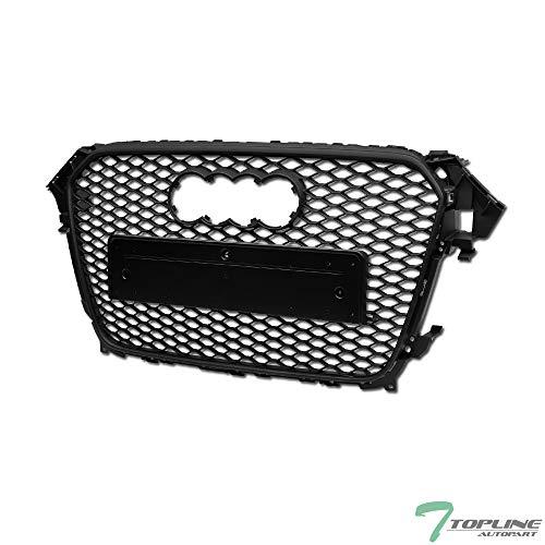 Topline Autopart Matte Black RS-Honeycomb Mesh Front Hood Bumper Grill Grille ABS For 13-16 Audi A4 / S4 B8.5