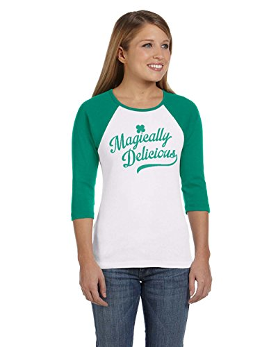 Womens Magically Delicious Raglan Shirt Ringer Tee For Saint Patricks Day (Green) XL (Fitted Ringer Usa Womens Tee)