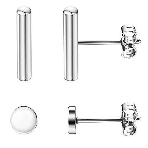 Sllaiss 2 Pairs 925 Sterling Silver Bar Dot Stud Earrings Set for Women Men Simplify Round Stick Cylinder Earrings ()