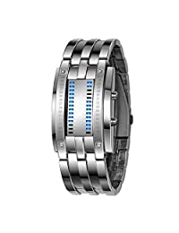 Aimes Deluxe Luxury LED Electronic Men Wristwatches Blue Binary Luminous Sports Watches with Date Silver