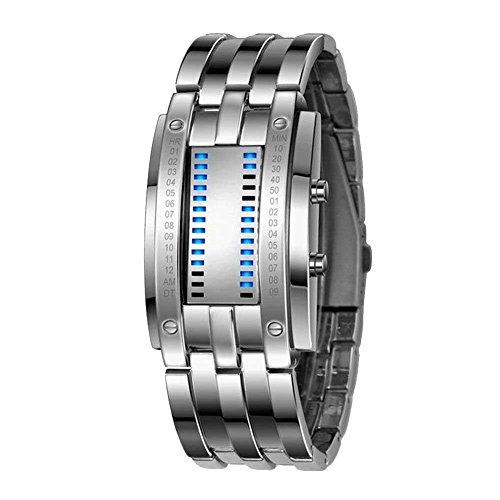 Aimes Deluxe Luxury LED Electronic Men Wristwatches Blue Binary Luminous Sports Watches with Date Silver Black Friday & Cyber Monday 2015
