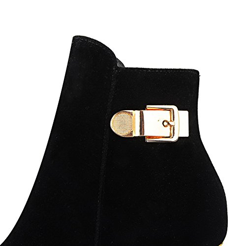 Suede top Kitten Solid Women's Black Boots Low Heels Zipper Imitated AgooLar x8qHwgTXX