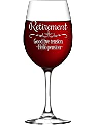 Retirement Gift Wine Glass for Women, Goodbye Tension, Hello Pension Etched Wine Glass - WG16