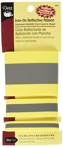 Dritz 654 Ribbon, Reflective Iron-On, Yellow, 3 Sizes