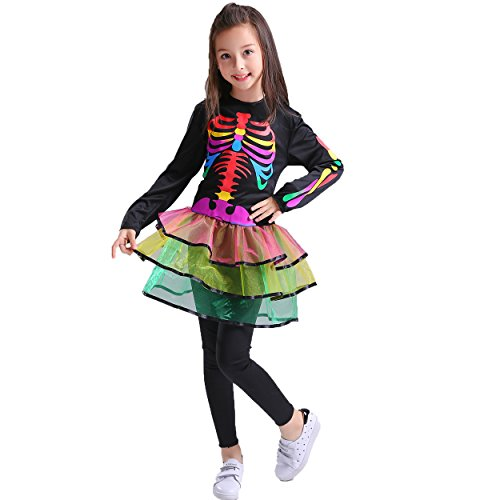 flatwhite Skeleton Girls Costume with Multi-Coloured Bones (10-12Y) ()