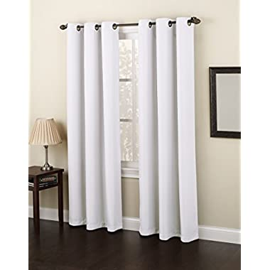 No. 918 Montego Casual Textured Grommet Curtain Panel, 48 x 95 Inch, White