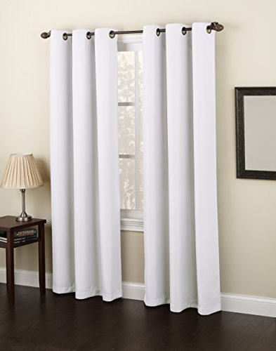 No. 918 Montego Casual Textured Grommet Curtain Panel, 48″ x 84″, White