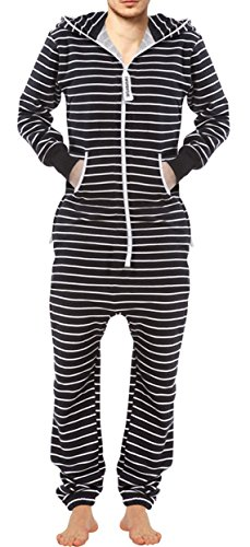 (SKYLINEWEARS Men's Fashion Onesie Printed Jumpsuit Bengal Stripes White/Black XL)