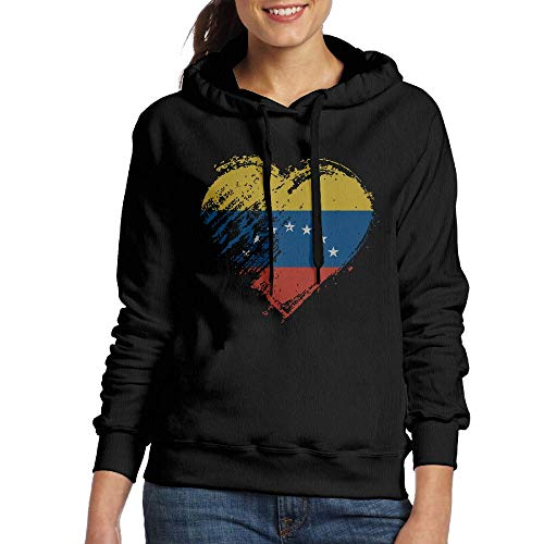 Venezuela Flag Love Heart - Grungy I Love Venezuela Heart Flag Women's Funny Adult Long-Sleeved Sweater