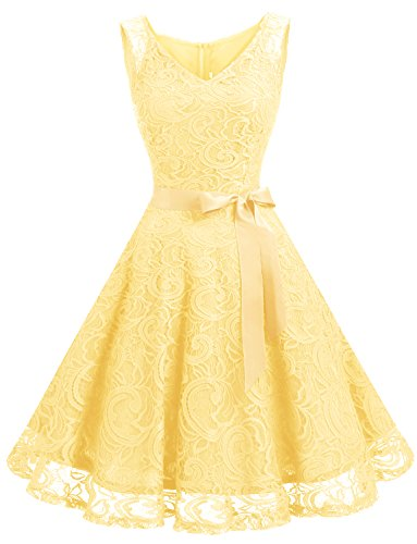 Dressystar Women Floral Lace Bridesmaid Party Dress Short Prom Dress V Neck M Yellow (Big Women Prom Dresses)