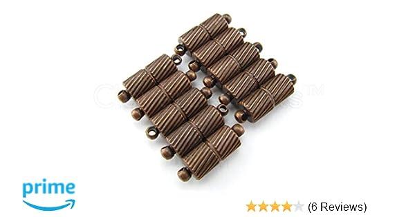 Necklace Antique Bronze Color Deco Drum Style 20 Magnetic Clasp Converters