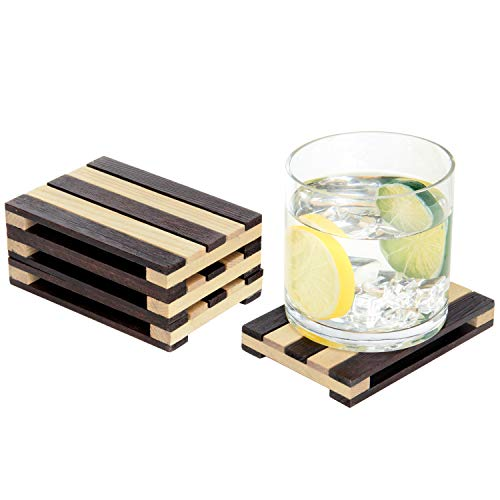 MyGift Set of 4 Two-Tone Brown Mini Wood Pallet Style Beverage Drink Coasters