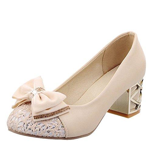 Charm Foot Womens Fashion Archi Paillettes Pompe Con Tacco Grosso Scarpe Albicocca
