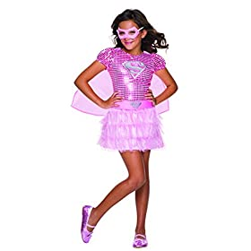 - 419f 2BbogX 2BL - Rubie's Costume DC Superheroes Supergirl Pink Sequin Child Costume