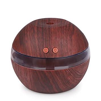 OurLeeme 300ml Humidificador ultras/ónico USB Difusor de aceites esenciales silenciosos Humidificador de niebla con luz LED azul Madera oscura asaki