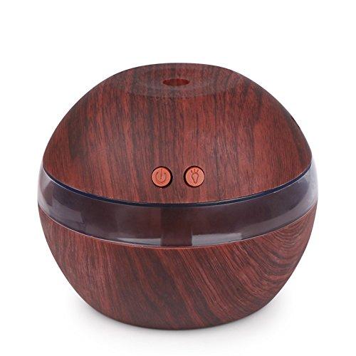 OurLeeme 300ml Humidificador ultrasónico USB Difusor de aceites esenciales silenciosos Humidificador de niebla con luz LED azul (asaki) (Madera ...