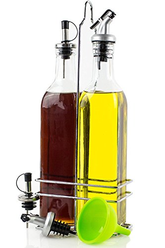 Olive Oil Dispenser - Olive Oil and Vinegar Bottle Set - 2 Glass Cruet Bottles (17oz) in Stainless Steel Holder - Olive Oil Container with 2 Pairs of Different Pour Spouts and Silicone Funnel by Cookisy