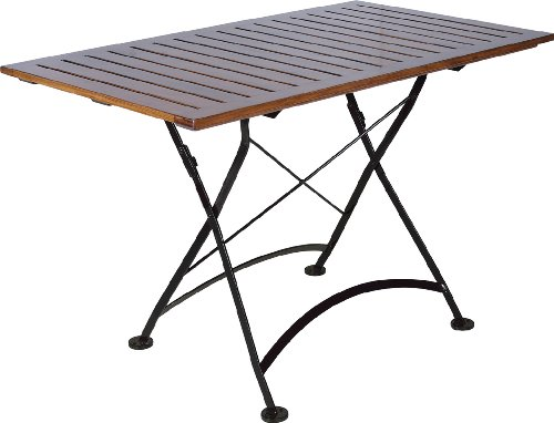 (Mobel Designhaus French Café Bistro Folding Table, Jet Black Frame, 32