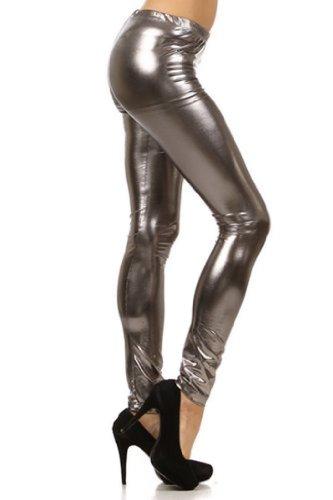 Sakkas MILiquid111 Footless Liquid Wet Look Shiny Metallic Stretch Leggings - Grey/Large ()