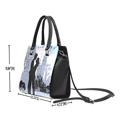 INTERESTPRINT Pink Heart Floral PU Leather Satchel Shoulder Tote Bags Top Handle Handbags