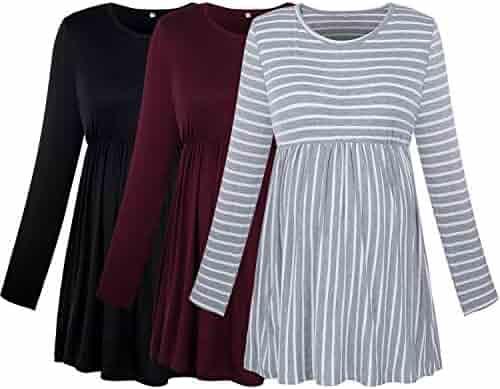 XIAMOOR Womens Short Sleeve Maternity Tops Shirts Floral Maternity Basics Casual Mama Pregnancy Blouses Clothes