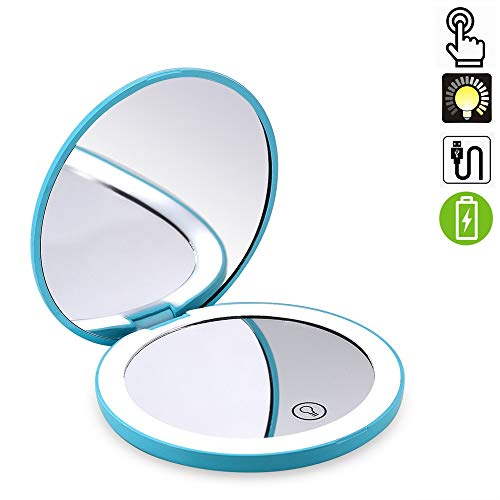 Travel Lighted Makeup Mirror,7X/1X Magnification Compact Vanity Mirror with Lights, USB Rechargeable LED Lighted Handheld Mirror,Dimmable Cosmetic Mirror with Touch Screen Switch,USB Charge(Turquoise)
