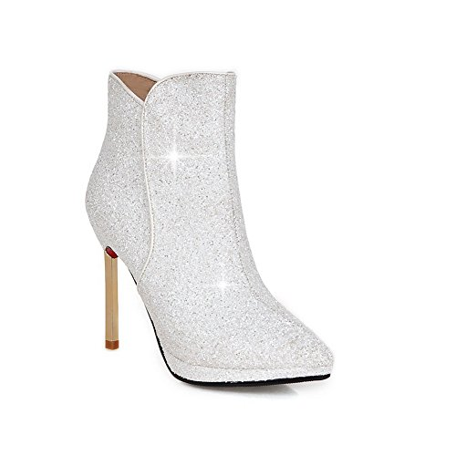 BalaMasa Zipper White Sequins Girls Stiletto Solid Boots Tqw7FT1