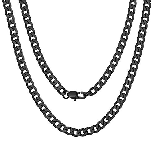 ChainsPro Necklace Chain Men Stainless Steel Cuban Link Chain Necklace Black Choker