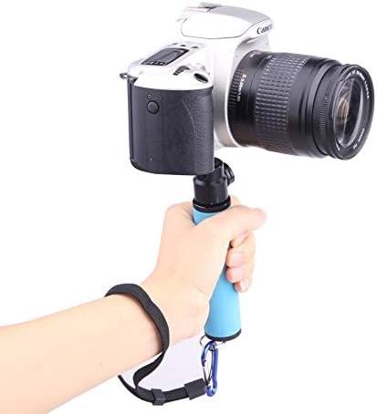 ZL-U Hot Selfie Stick LED Flash Light Holder Sponge Steadicam Handheld Monopod with Gimbal for SLR Camera Color : Green Orange